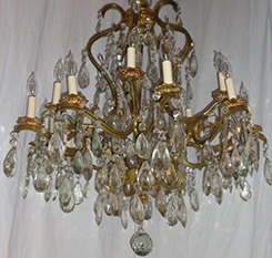 16-Light Brass & Crystal Chandelier